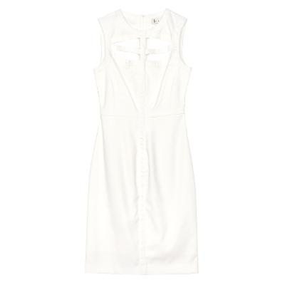 cutout sleeveless dress white